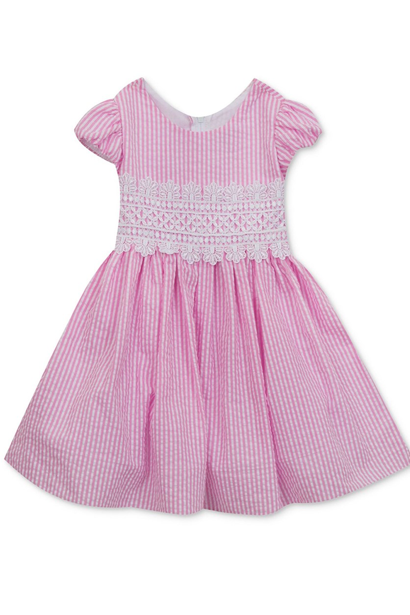Toddlers Girl's Striped Seersucker Dress, Pink