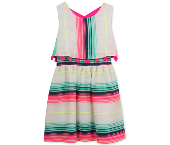 Rare Editions Girl's Stripe Popover Dress, White/Blue/Pink
