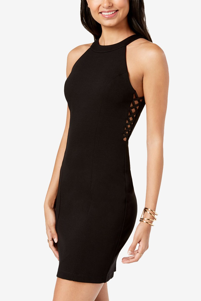 Juniors Lattice-Side Bodycon, Black