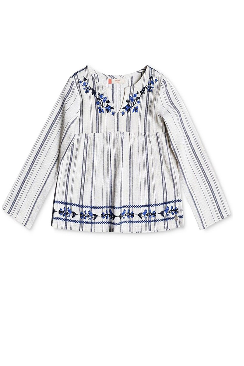 Floral-Trim Cotton Tunic, Natural White/Blue