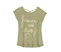 Copper Key Kids Girl's Graphic Print Top, Olive