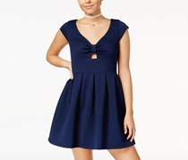 Emerald Sundae Juniors' Bow-Front Fit & Flare Dress, Navy
