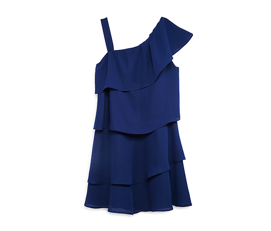Aqua Girl's Tiered One Shoulder Dress, Navy Blue