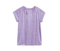 Kids Girls Heathered V-Neck T-Shirt, Blazing Purple
