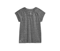 Ideology Girls' Heathered V-Neck T-Shirt, Noir
