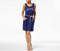 G.h. Bass & Co. Logo Graphic Rope-Belt Dress, Navy