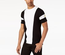 Sean John Mens Colorblocked Embroidered Top, Bright White/Black