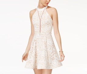 B Darlin Juniors Strappy-Back Lace Fit Dress, White/Nude
