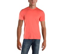 Ike Behar Mens Cotton Crew Neck T-Shirt, Coral Sunset