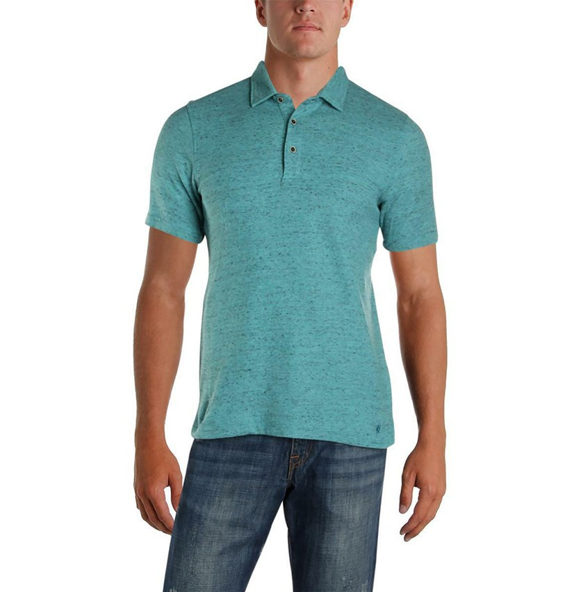 Mens Pique Heathered Polo Shirt, Sage Stone