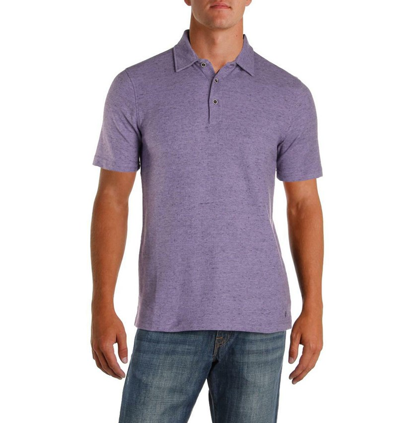 Mens Pique Heathered Polo Shirt, Lilac