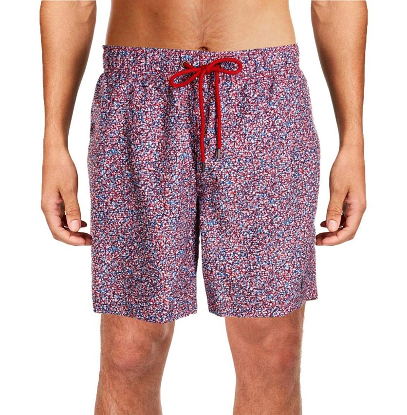 IKE By Ike Behar Geometric Stick Print Swim Trunks, Classic Red