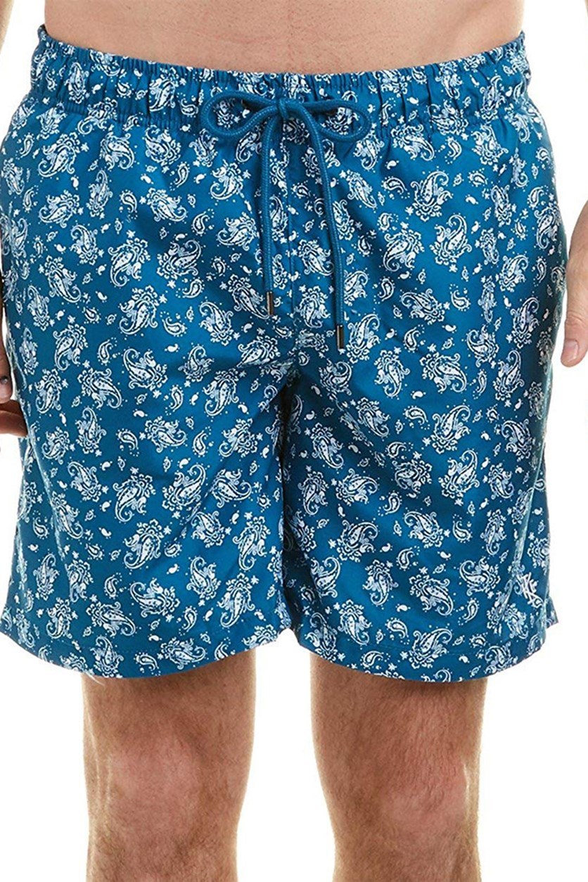 Paisley Swim Trunks, Teal Crest