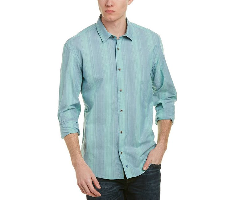 Mens Poplin Ombre Button-Down Shirt, Mint Spa