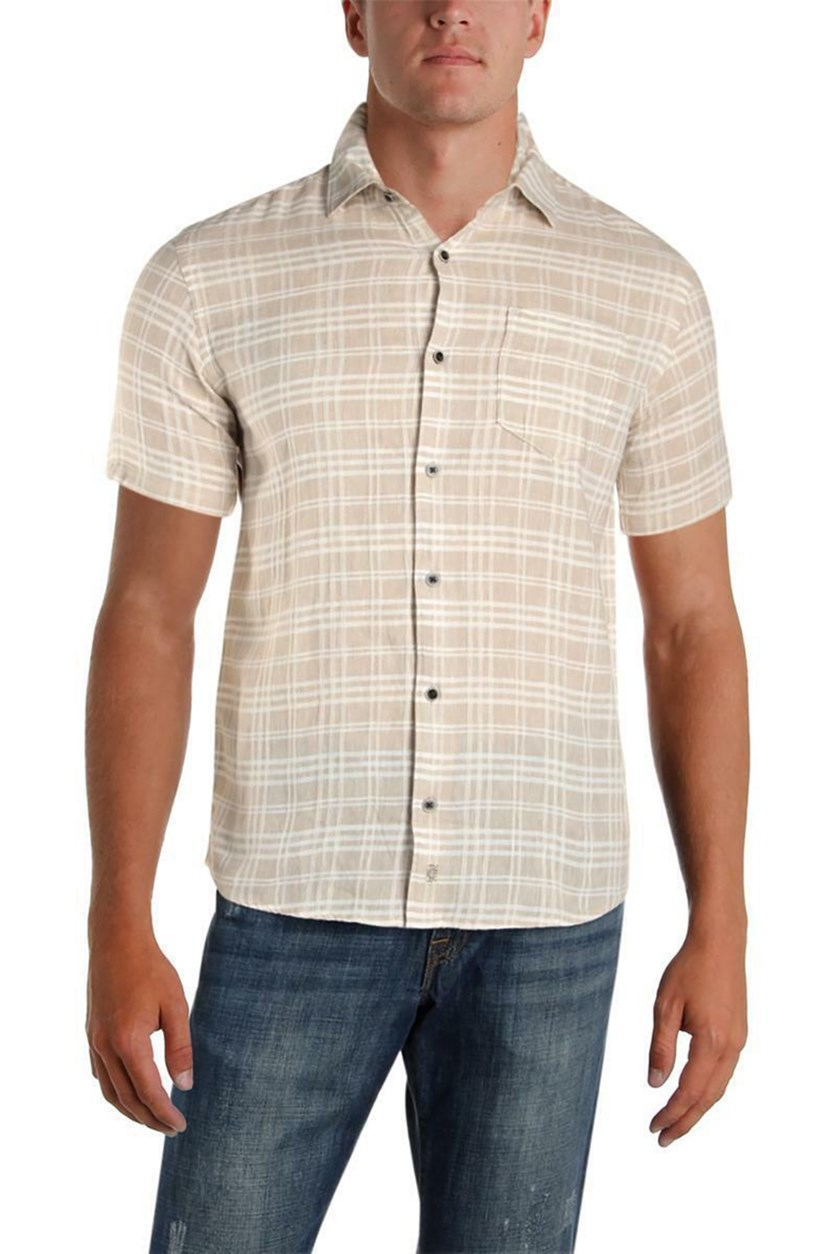 Mens Linen Woven Button-Down Shirt, Cobblestone