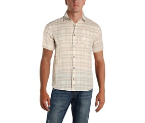 Ike Behar Mens Linen Woven Button-Down Shirt, Cobblestone