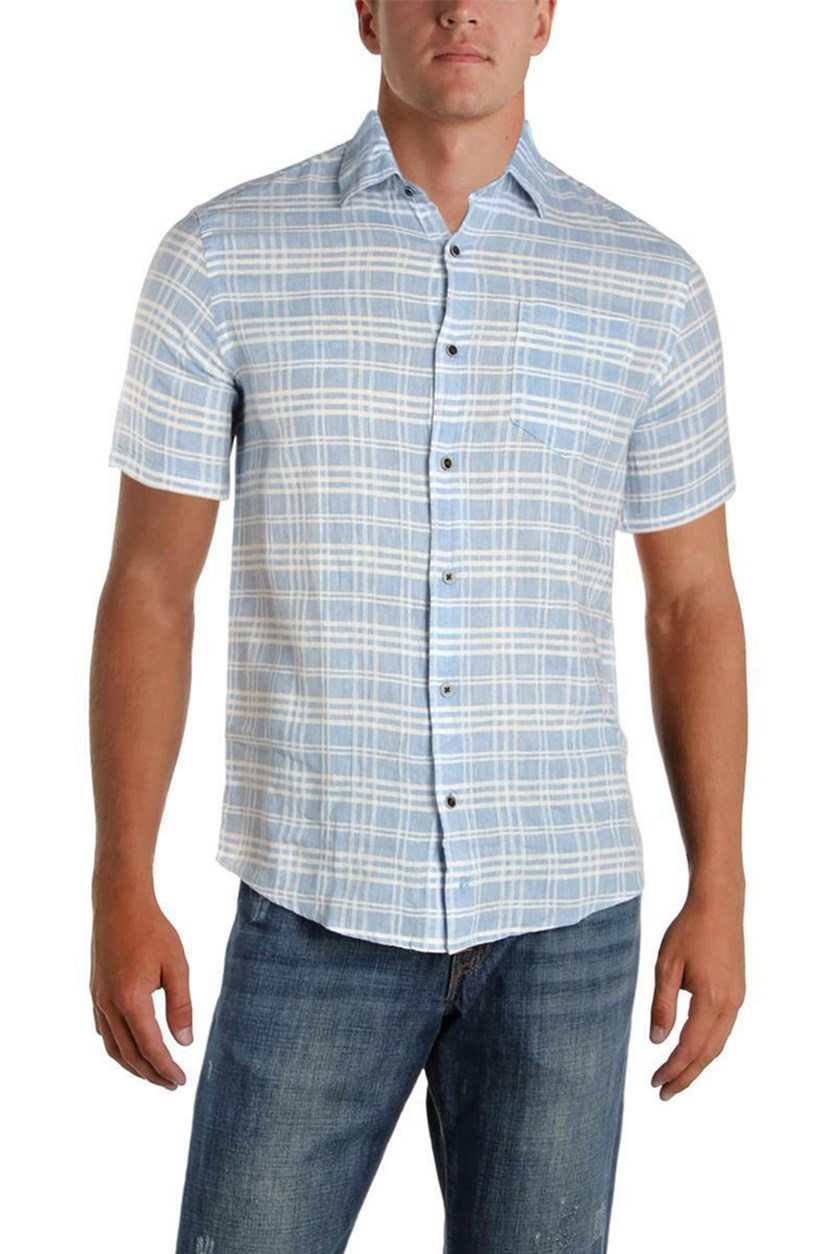 Mens Linen Woven Short Sleeves Button-Down Shirt, Office Blue