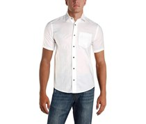 Ike Behar Mens Linen Woven Short Sleeves Shirt, White