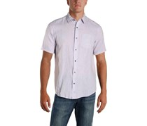 Ike Behar Mens Linen Woven Short Sleeves Shirt, Heirloom Lilac