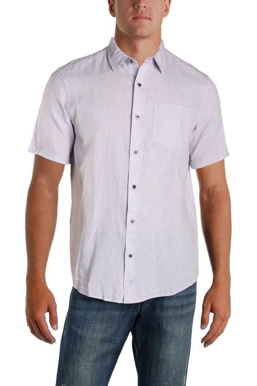 Mens Linen Woven Short Sleeves Shirt, Heirloom Lilac