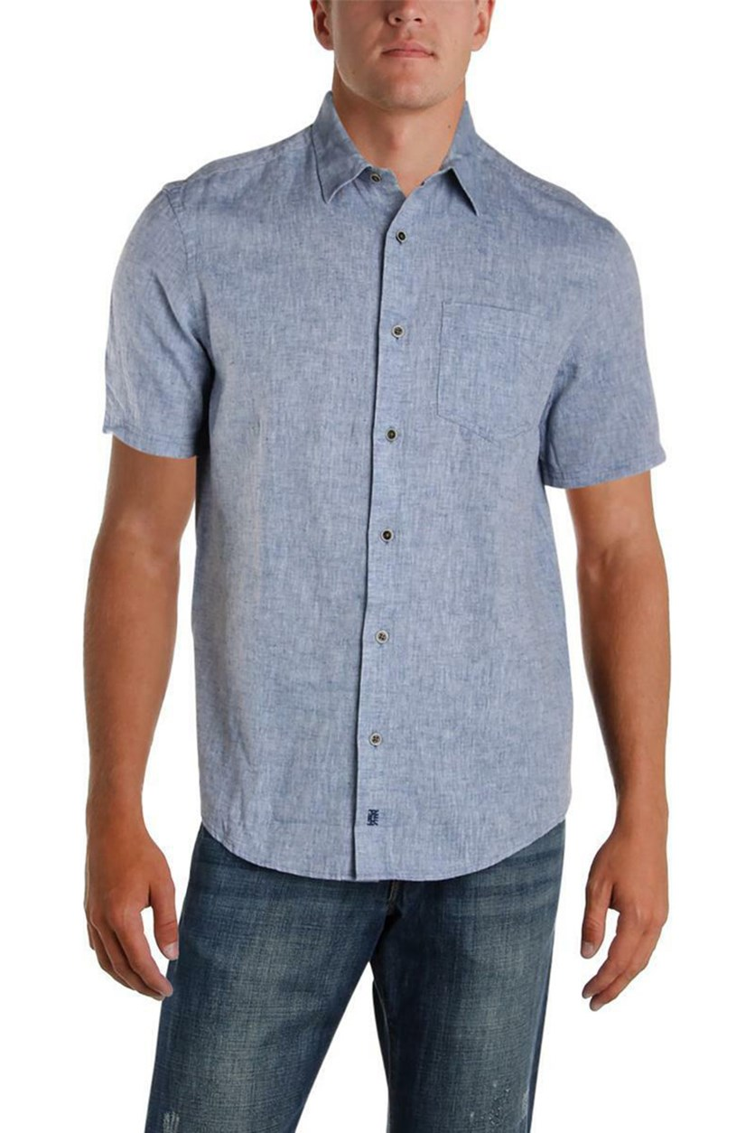 Mens Linen Woven Short Sleeves Button-Down Shirt, Washed Blue