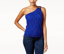 Lily Black Juniors' Lace One-Shoulder Top, Blue