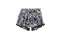 Kids Girls Chevron-Striped Shorts, Black Combo