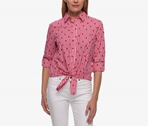 Tommy Hilfiger Cotton Printed Tie Front Shirt, Pink/White