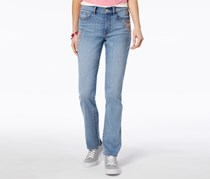Embroidered Straight-Leg Jeans, Light Wash