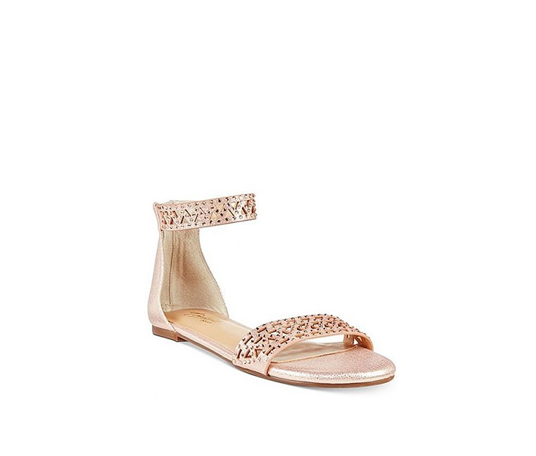 Jacey Flat Sandals, Gold/Beige