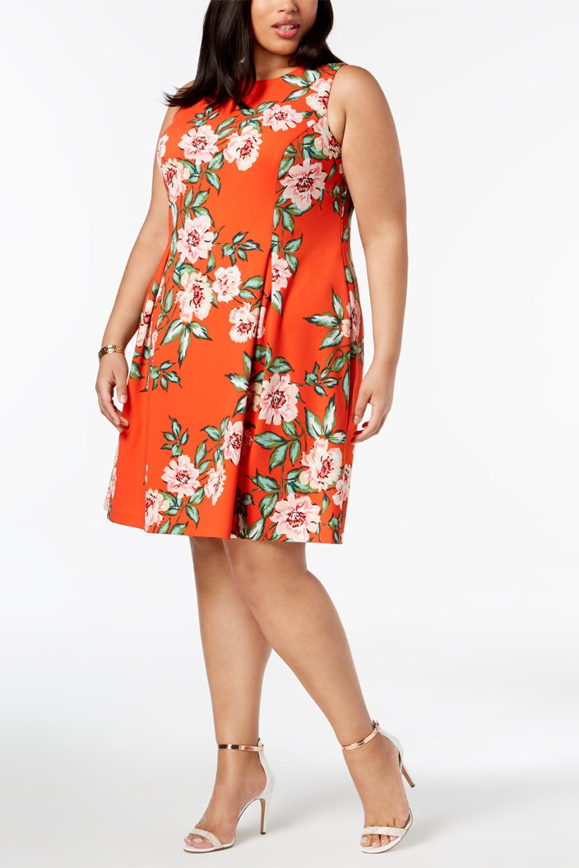 Plus Size Floral-Print A-Line Dress, Orange