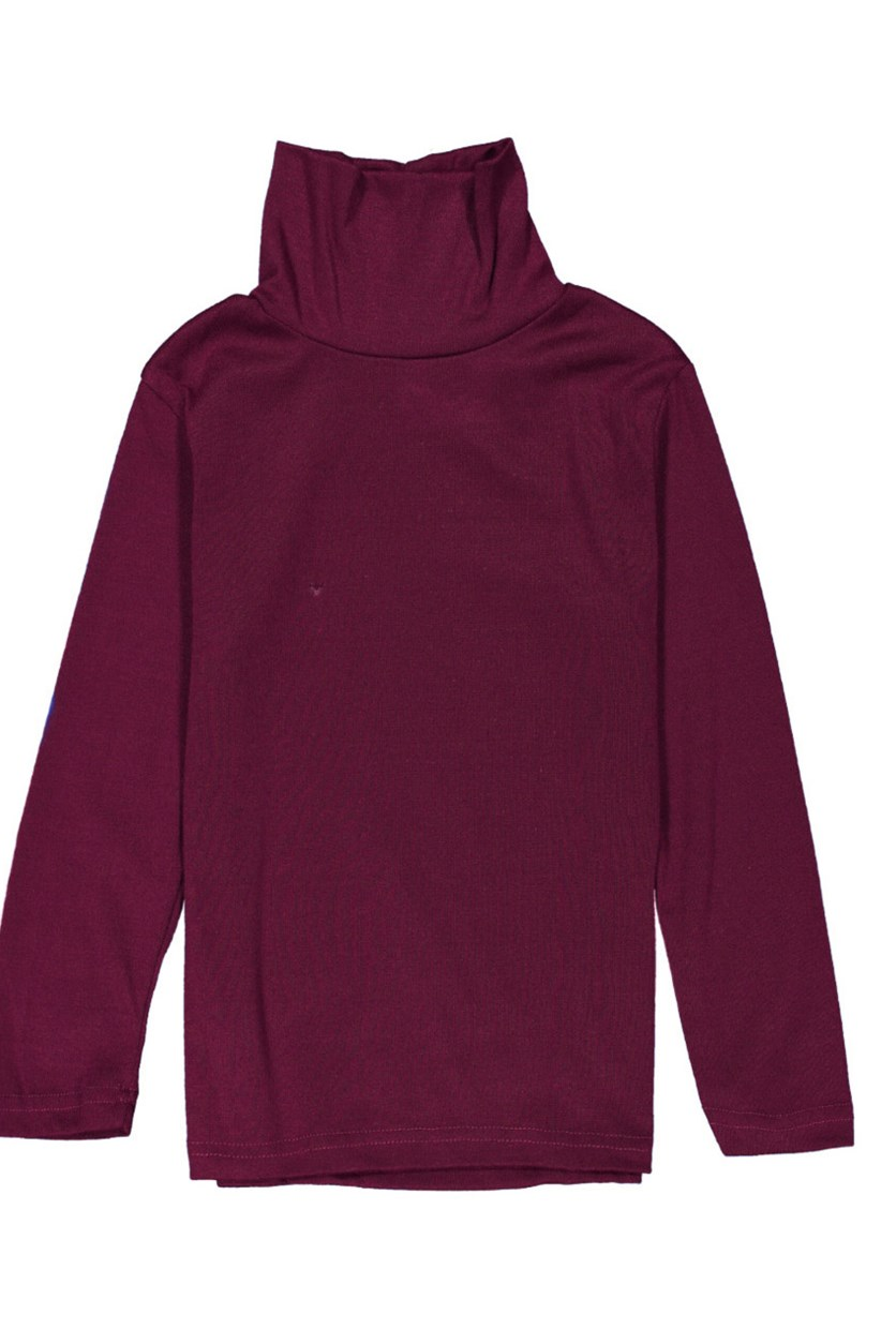Big Girl's Turtle Neck Top, Maroon