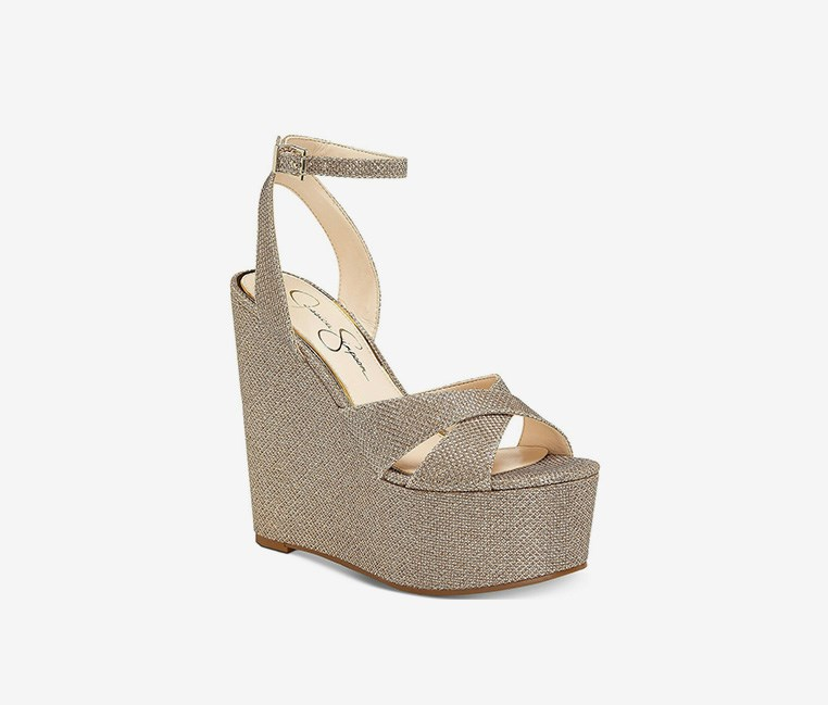 Women's Prena Wedge Sandal, Gold Glitter