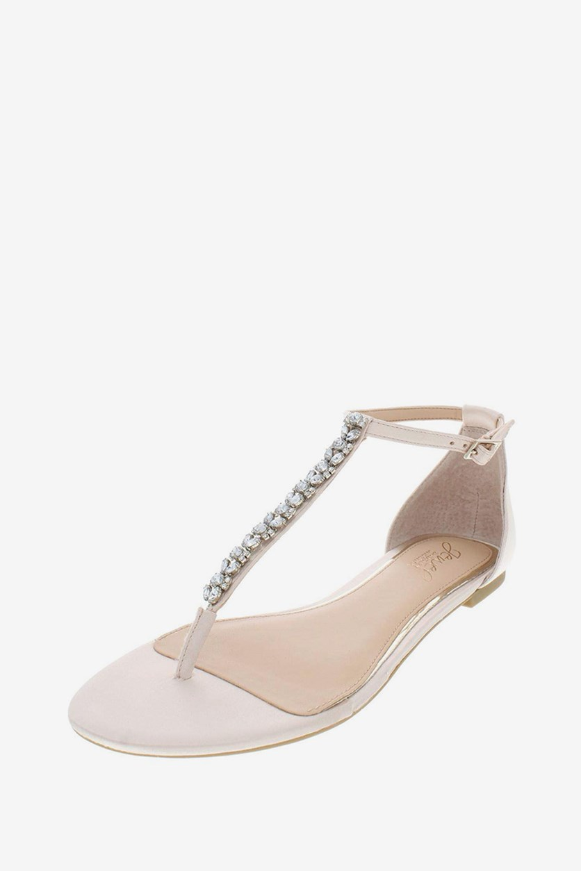 Gabby Satin Evening Sandals, Beige