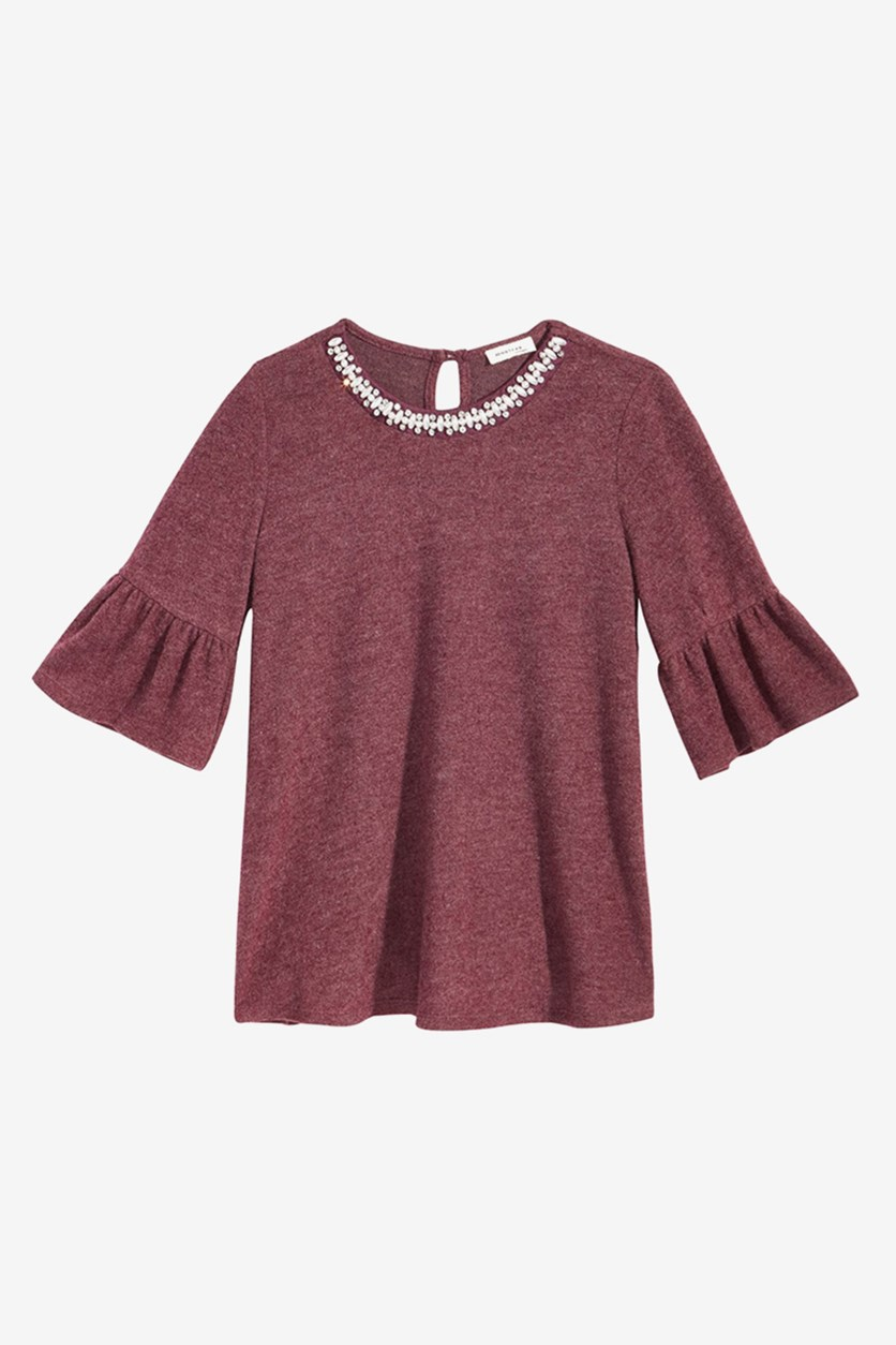 Bell-sleeve Necklace Top,  Burgundy