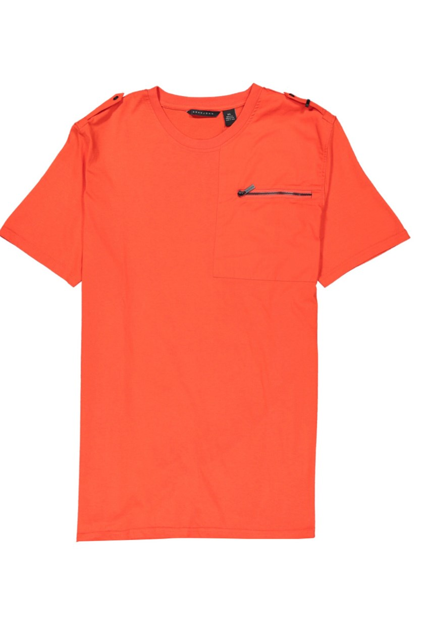 Men's Zip-Pocket T-Shirt, Fiery Red