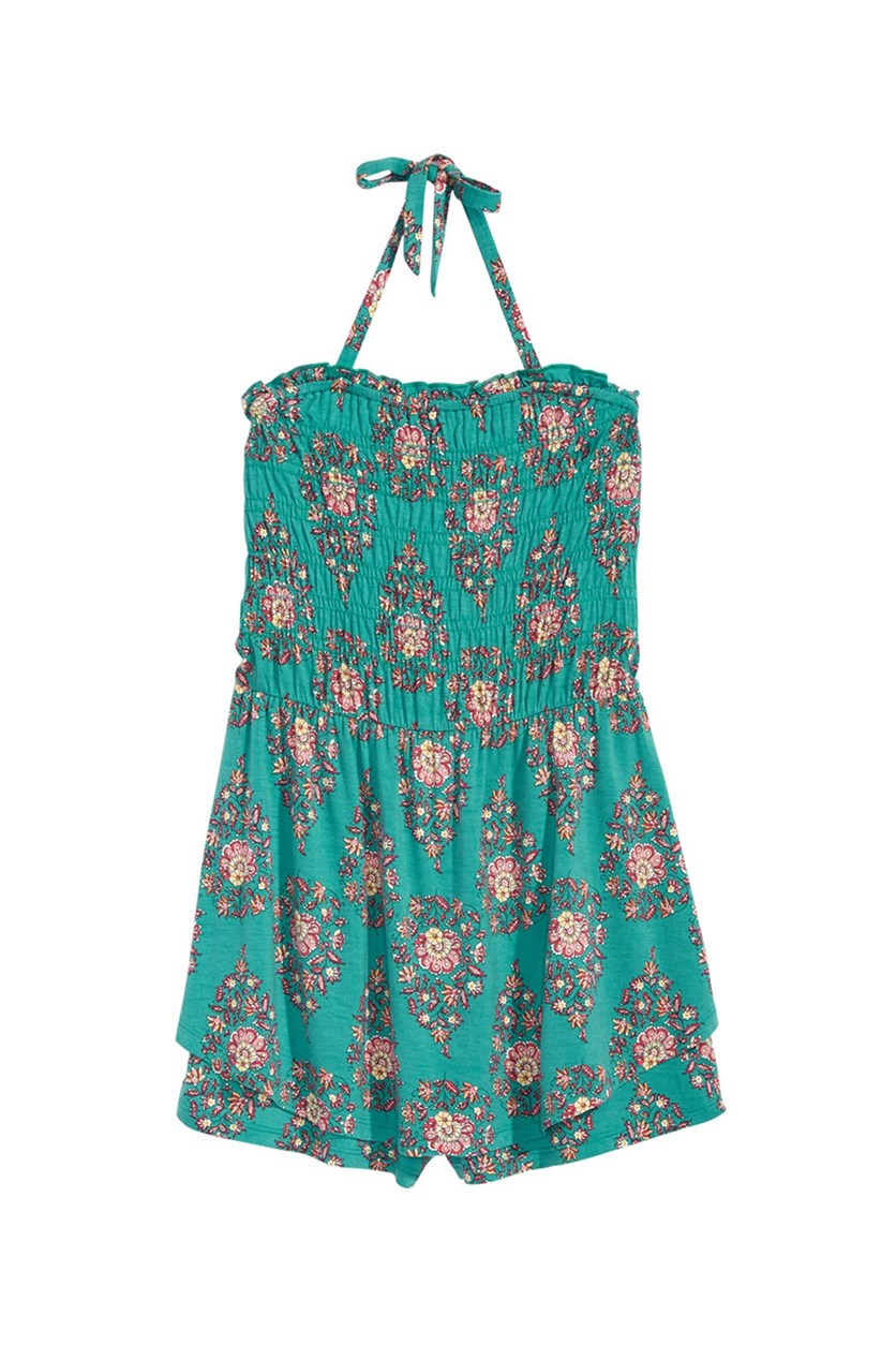 Big Girl Printed Halter Romper, Turquoise