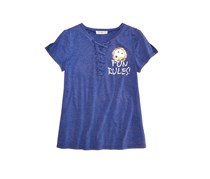 Big Girls Lace-Up T-Shirt, Blue
