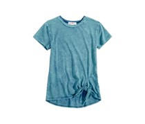 Glitter-Graphic Tie-Front T-Shirt, Teal