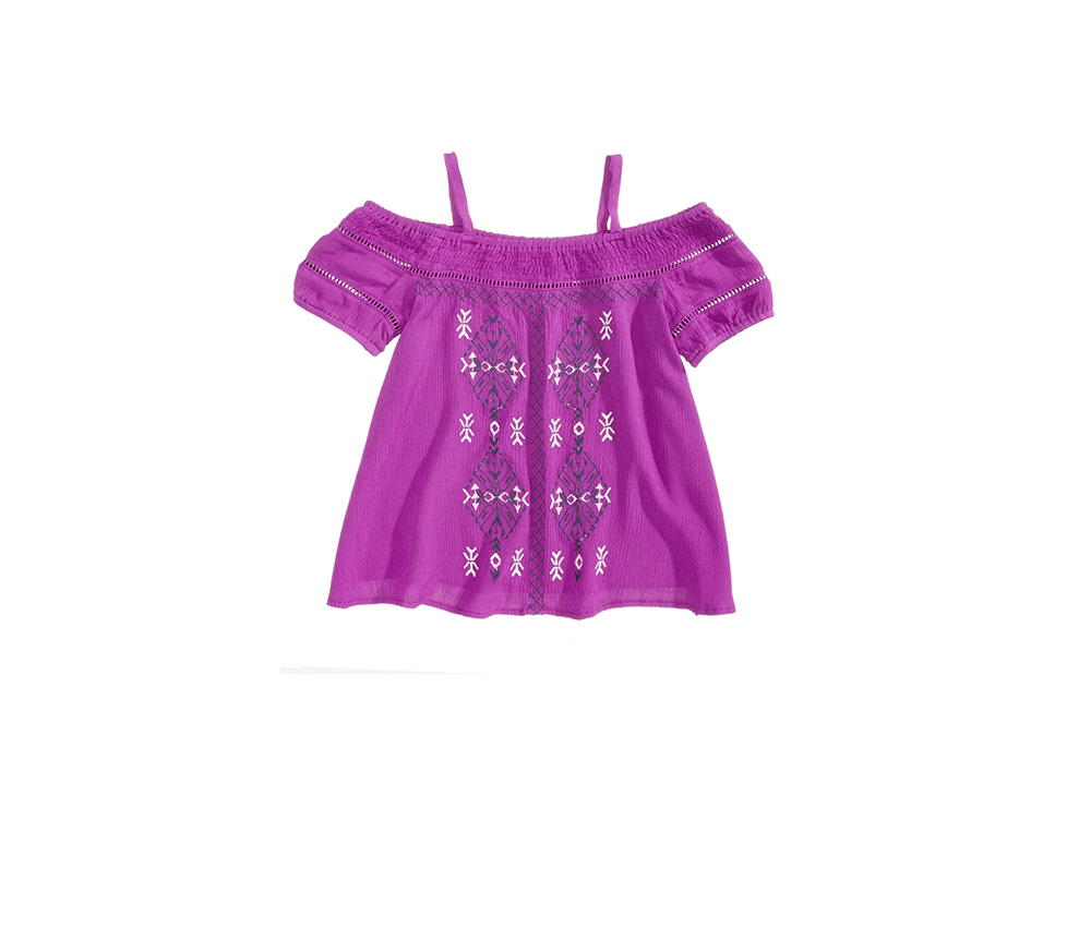 Cold-Shoulder Embroidered Top, Violet