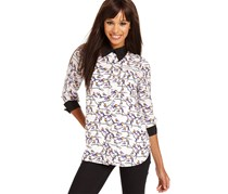 kensie Long-Sleeve Bird-Print Blouse, White/Black