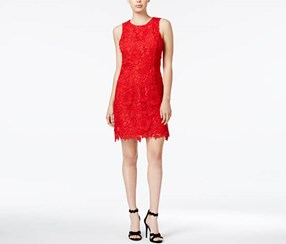 Kensie Women's Sleeveless Lace Dress, Red