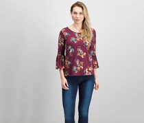 Nine Britton Women's Floral Print Top, Purple