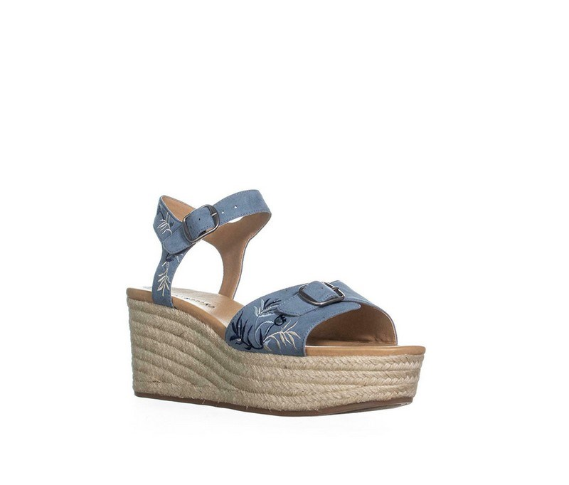 Womens Naveah 2 Leather Sandals Espadrilles, Faded Denim