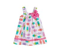 Bonnie Baby Baby Girls Popsicle-Print Cotton Sundress, Fuschia/White/Purple