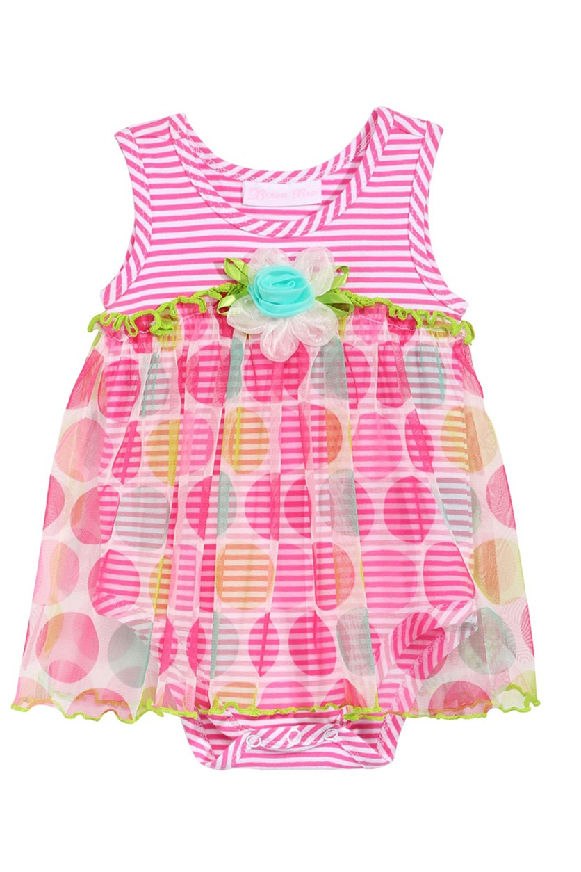 Dot-Print Romper Baby Girls, Pink