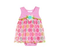 Bonnie Baby Dot-Print Romper Baby Girls, Pink