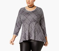 Melissa McCarthy Seven7 Trendy Plus Size Plaid Peplum Top, Grey