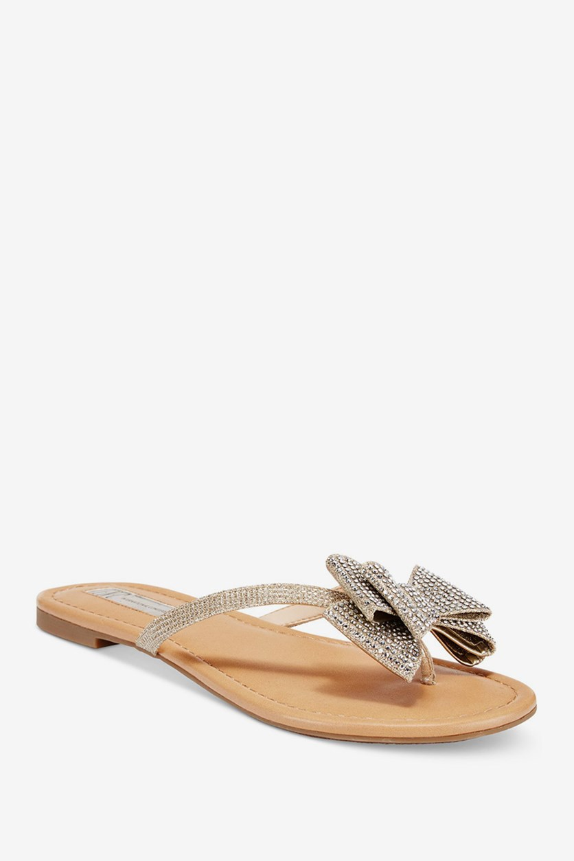 Malissa Bow Thong Sandals, Pewter