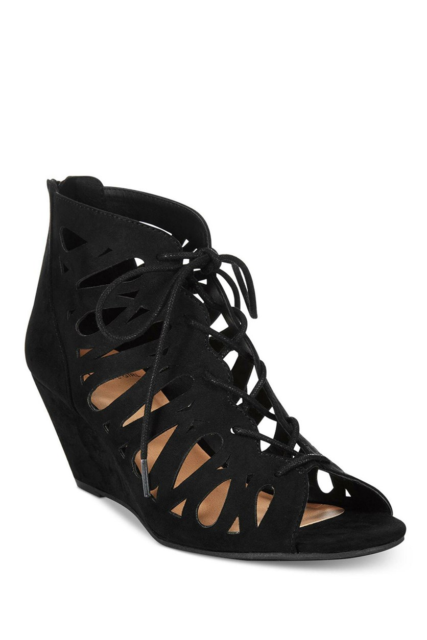 Harlie Lace-Up Demi Wedge Sandals, Black